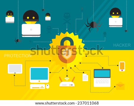 hacker activity viruses hacking and e-mail spam, protection device computer flat - stock vector