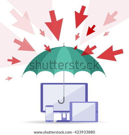 Hacker attack and safety digital technology concept. Vector flat illustration of cursors, umbrella, computers, telephone. Viruses attack, guard protects data. Element for web, brochure, presentation. - stock vector