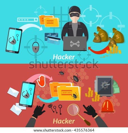 Hacker attack banner mobile phone hacking protecting computer professional hacker vector illustration - stock vector