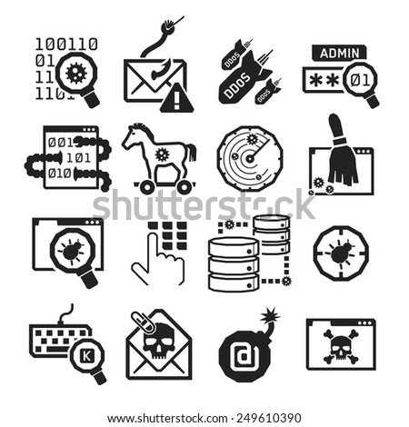 Hacker attack icons set // BW Black & White - stock vector