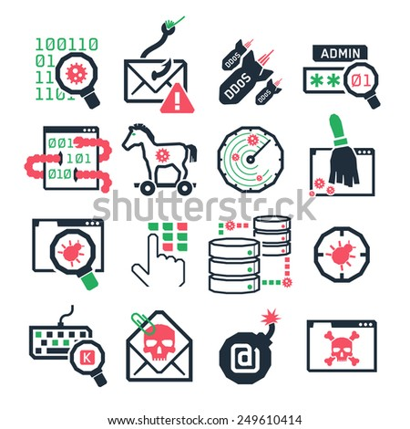 Hacker attack icons set // Color - stock vector