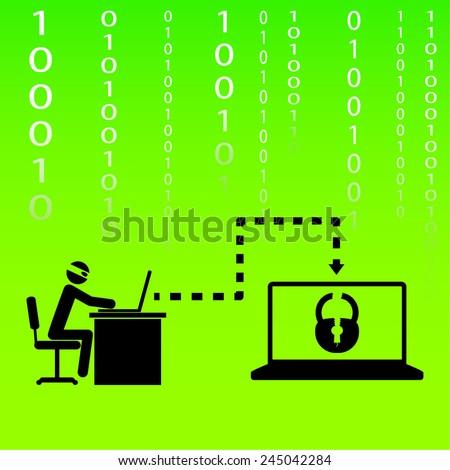 hacker breaks into someone else's data, vector illustration - stock vector