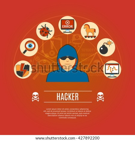 Hacker Concept Icons Set. Vector illustration