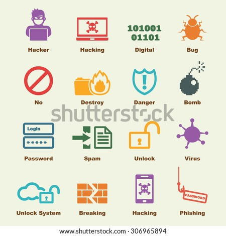 hacker elements, vector infographic icons - stock vector