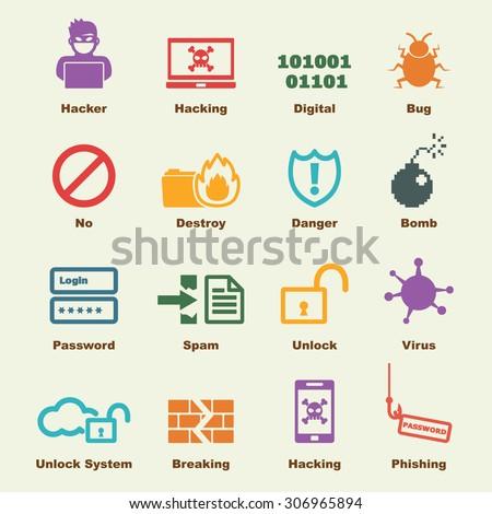 hacker elements, vector infographic icons - stock vector