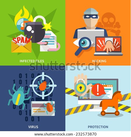 Hacker flat icons set with infected files hacking virus protection isolated vector illustration - stock vector