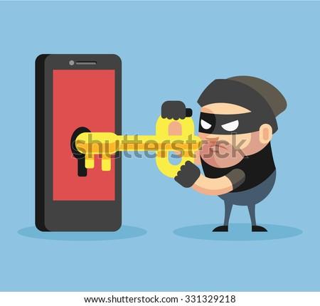 Hacker hacking smartphone. Vector flat illustration - stock vector