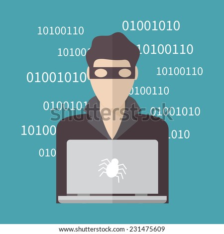 Hacker, Internet Security concept. Flat design vector illustration.