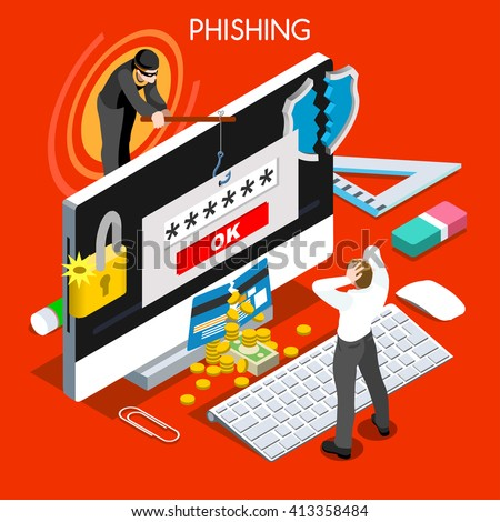 Hacker Phishing Infographic 3D flat isometric people design concept. Spam phishing attack risk threats for computer systems. Icon. JPG. JPEG. Picture. Graphic. Illustration. Object. Vector. EPS. AI. - stock vector