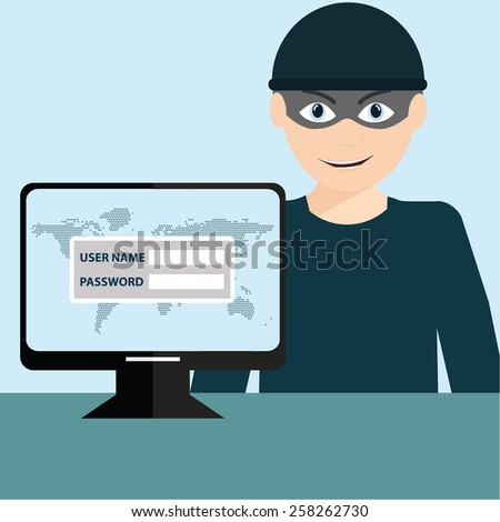Hacker stealing sensitive data as passwords from a personal computer - stock vector