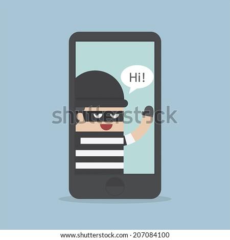 Hacker, Thief Hacking Smartphone, Business concept, VECTOR, EPS10 - stock vector