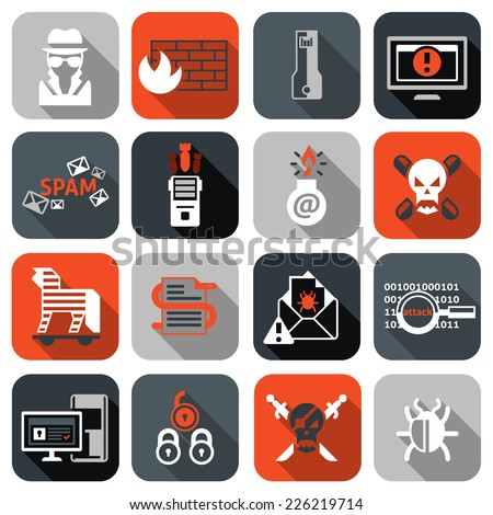 Hacker web security icons flat set with firewall computer spam isolated vector illustration - stock vector
