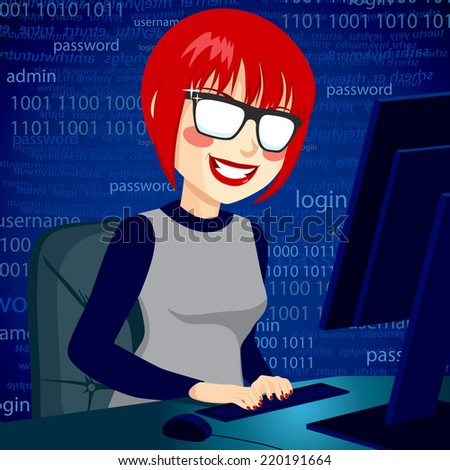 Hacker woman typing on computer enjoying breaking system security code with mischievous smile - stock vector