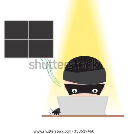 Hacker working on notebook with internet and tryinga to hack password data online for security and safety network concept, isolated on white background - stock vector