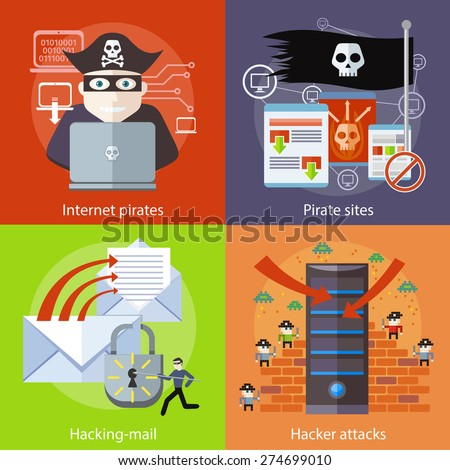 Hackers attaks activity. Hacker activity viruses hacking and e-mail spam. Computer crime in flat design. Pirate attacking laptop computer as internet pirate. Homepage of pirate sites with flag - stock vector