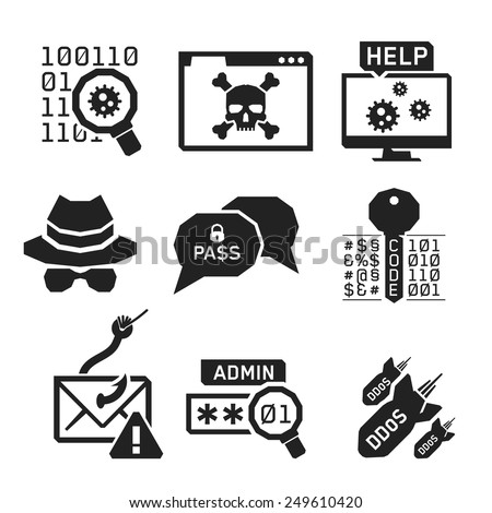 Hacking icons set 02 // BW Black & White - stock vector