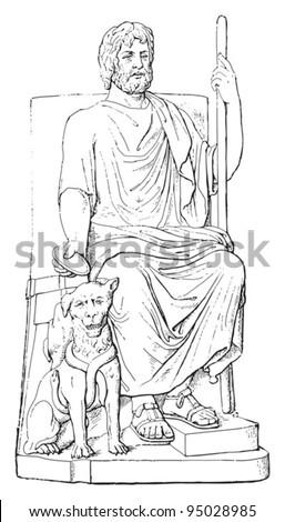 Hades (god of the underworld) with Cerberus  / vintage illustration from Meyers Konversations-Lexikon 1897 - stock vector