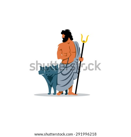 Hades sign. Mythological Greek God of the dead underworld. Vector Illustration. Branding Identity Corporate logo design template Isolated on a white background - stock vector