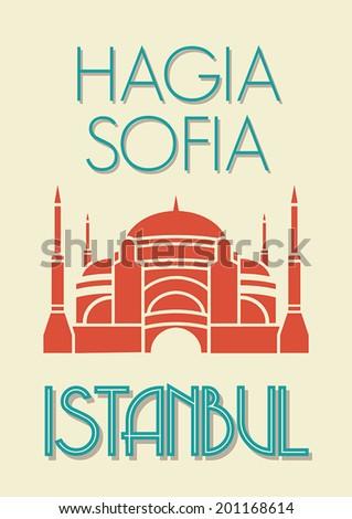 Hagia Sophia, Istanbul poster - stock vector