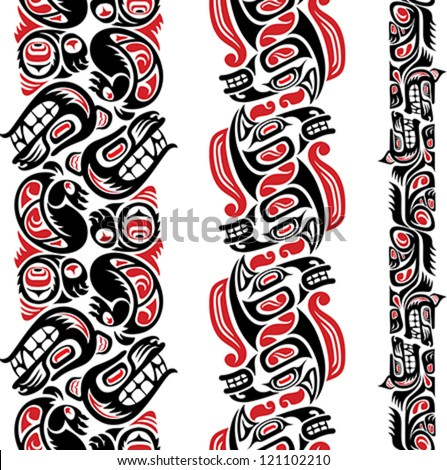 Haida style seamless pattern created with animal images. Editable vector illustration. - stock vector