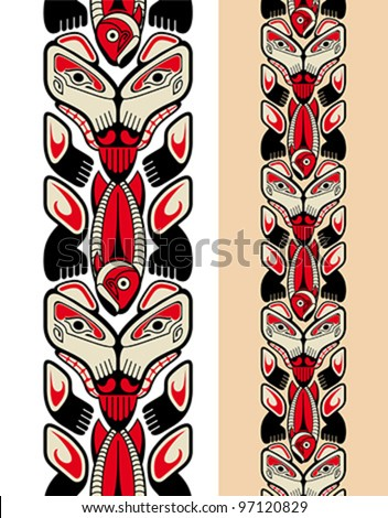 Haida style seamless pattern created with animal images. Vector illustration fit for tattoo. - stock vector
