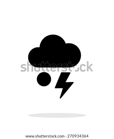 Hail with lightning weather simple icon on white background. Vector illustration. - stock vector