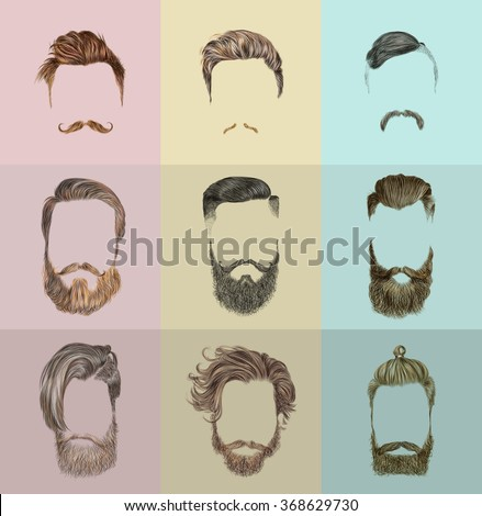 Hair and beards set. Hipster style. Vector fashion illustration. - stock vector