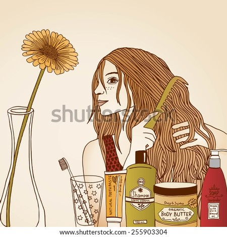 Hair care illustration No. 3/3 (colored) - stock vector