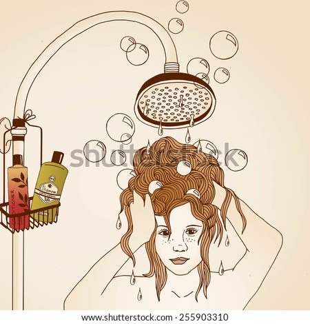 Hair care illustration No. 1/3 (colored) - stock vector