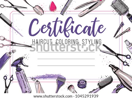 hair cut hairdressing business card certificate stock vector
