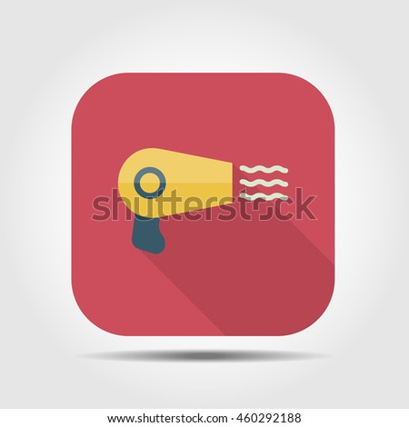 hair dryer flat icon with long shadow, vector illustration