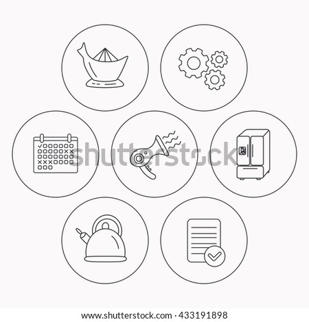 Hair-dryer, teapot and juicer icons. Refrigerator fridge linear sign. Check file, calendar and cogwheel icons. Vector - stock vector