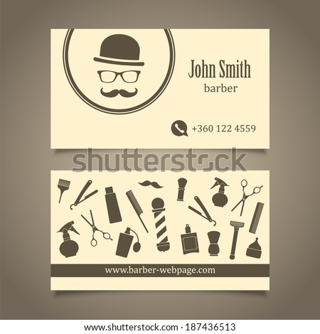 Hair salon barber shop business card stock vector 187436513 hair salon barber shop business card design template colourmoves
