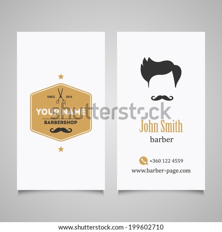 Hair salon barber shop business card stock vector 199602710 hair salon barber shop business card design template wajeb Image collections