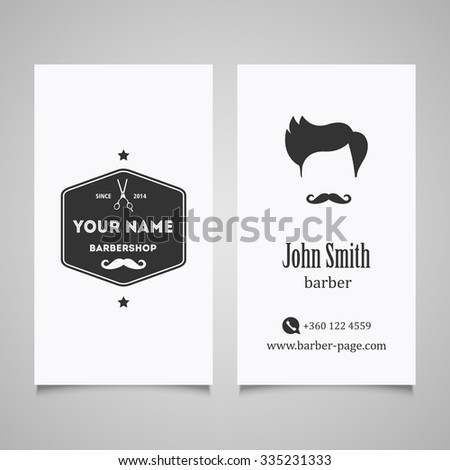 Hair salon barber shop business card stock vector 335231333 hair salon barber shop business card design template flashek Choice Image