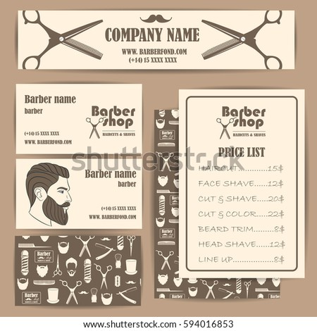 Hair salon barber shop vintage business stock vector 594016853 hair salon barber shop vintage business cards and prices design template set vector illustration reheart Image collections