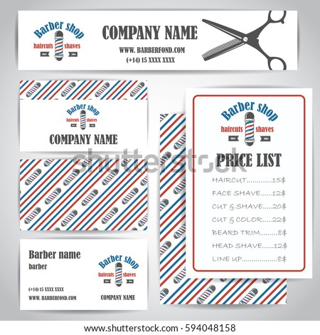 Barber Shop Vector Price List Template Stock Vector 377204692