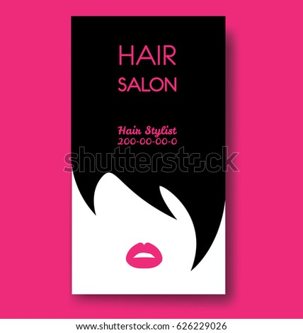 Hair salon business card templates black stock vector 2018 hair salon business card templates with black hair and beautiful woman face silhouette wajeb Images
