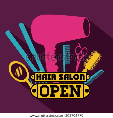 Hair salon over purple background,vector illustration - stock vector