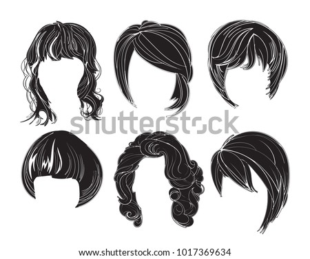 Hair silhouettes set, woman hairstyle. Vector slhouette