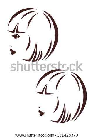 Hair stile icon, woman's profile, logo haircut bob - stock vector