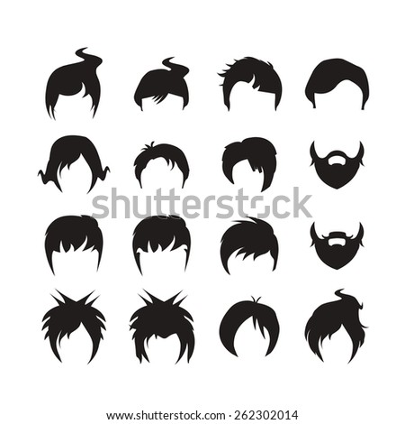 Hair Style Icons : hair style icons 3 - stock vector