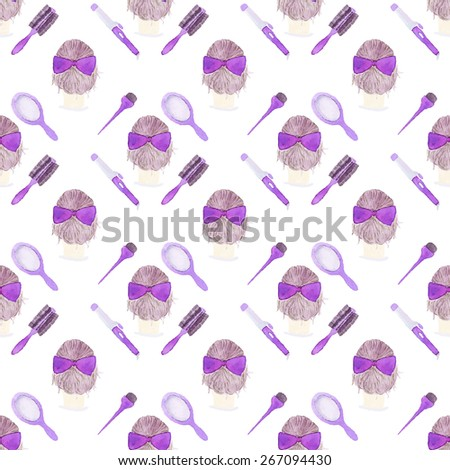 Hair styling. Seamless pattern with beauty tools. Hand-drawn background. Vector illustration. Real watercolor drawing. - stock vector