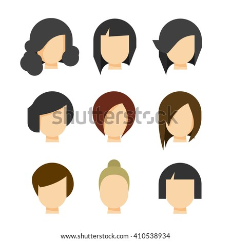 Hair styling vector illustration isolated on white background, haircut set on woman head silhouette, hair abstract model flat cartoon shapes design - stock vector