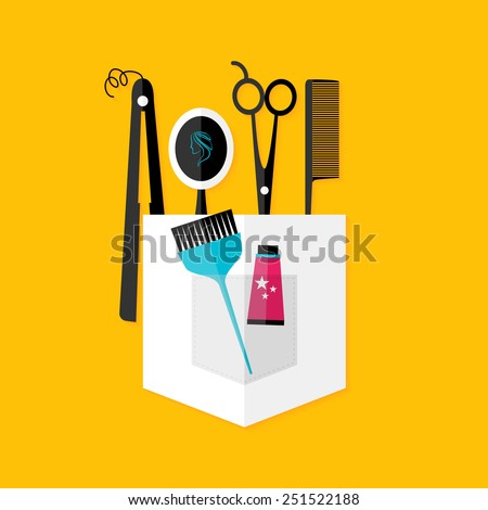 Hair stylist tools. Flat stylized object with shadow - stock vector