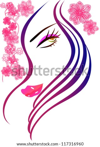 hair woman - stock vector