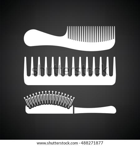 Hairbrush icon. Black background with white. Vector illustration.