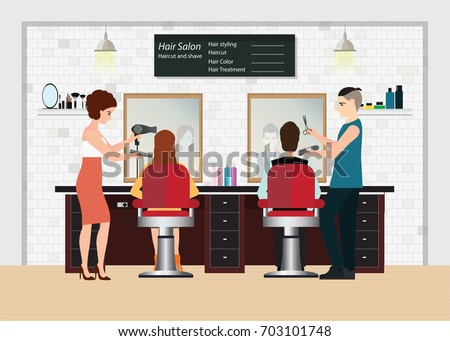 Hairdresser cuts customers hair in the beauty salon. Hair salon interior. vector illustration.