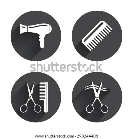 Hairdresser icons. Scissors cut hair symbol. Comb hair with hairdryer sign. Circles buttons with long flat shadow. Vector - stock vector