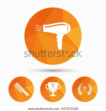 Hairdresser icons. Scissors cut hair symbol. Comb hair with hairdryer symbol. Barbershop laurel wreath winner award. Triangular low poly buttons with shadow. Vector - stock vector